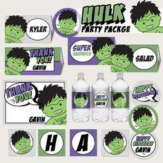Hulk Superhero Birthday Party Printable by LilFacesPrintables,