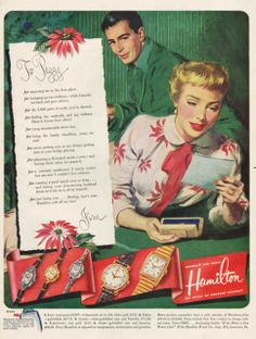 Vintage 1951 Hamilton Wrist Watch print ad letter from by Vividiom, $8.00