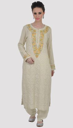 Champagne Chikankari And Parsi Gara Handcrafted Pure Georgette Suit