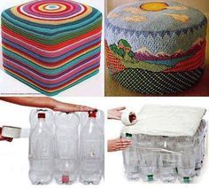 How to make a recycled plastic bottle footstool – Recycled Crafts I bet we all buy something in a plastic bottle, if not I'm sure we know someone who does. This footstool is a great example of how by using something as a group it makes it super strong…… Empty Plastic Bottles, Plastic Bottle Crafts, Recycled Bottles, Plastic Bottle House, Upcycled Crafts, Recycled Art, Diy Crafts, Recycled Plastic Furniture, Ideas Paso A Paso
