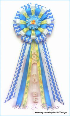 Rubber Ducky Baby Shower Corsage Mommy to Be Boy Pin -Mom Dad Badge Favor Turquoise Yellow Chevron Ribbon Grandma to Be Capia It's a Boy Mum - pinned by pin4etsy.com