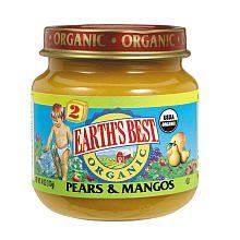 Earth's Best Organic Baby Food Stage 2 Pears and Mangos -- 4 oz $1.29