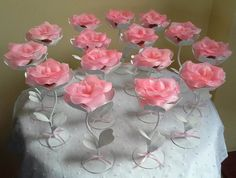 These would be perfect for a wedding toast, bridal showers, anniversary parties, or just for a girl's night out party! Party Centerpieces, Floral Centerpieces, Floral Arrangements, Paper Flower Decor, Flower Decorations, Wedding Decorations, Diy And Crafts, Paper Crafts, Giant Flowers