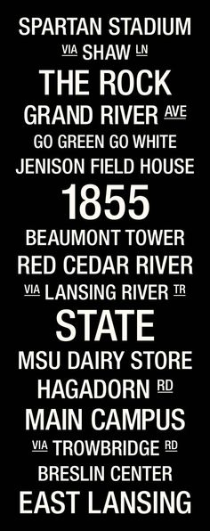 Michigan State College Town Wall Art; randomly found on Pinterest, what a coincidence :)