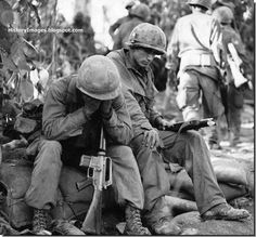Weary American soldiers rest during the Battle of Dak To. November 1967.