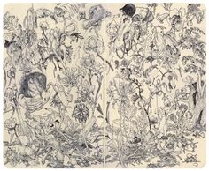 James Jean always amazes me. He did this in his sketchbook with a ball point pen.