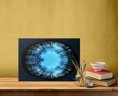 Dark Winter Planet Poster  by Emily Pigou  #winter #trees #planet #nature #digital #circular #poster #space #universe #photomanipulation #homedecor #wallart #photography #displate #landscape #blue #sky #darkwinter #abstract