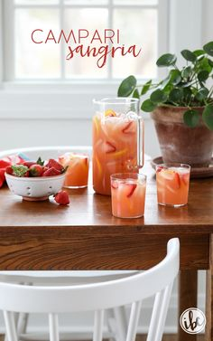 You're going to love this easy and delicious Campari Sangria Recipe! #sangria #recipe #summer #campari #rosé #wine #cocktail Best Cocktail Recipes, Sangria Recipes, Brunch Recipes, Drink Recipes, Fun Cocktails, Party Drinks, Fun Drinks, Beverages, Alcoholic Drinks