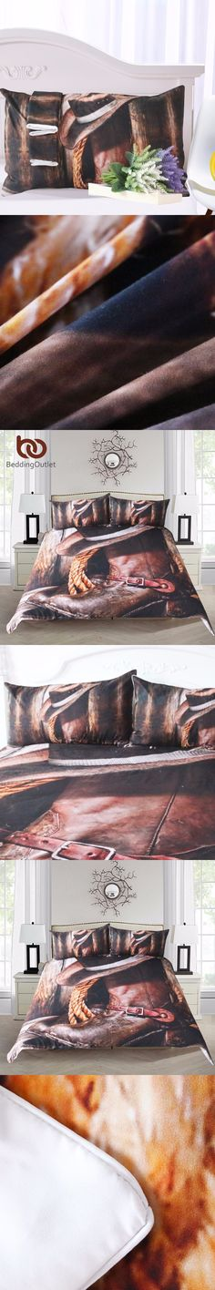 BeddingOutlet Cool Western Cowboy Bedding Set Hat On The Boots Duvet Cover Set with Pillowcases Super Soft Bedclothes 3 Pieces