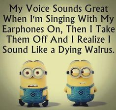 Despicable Me minions. Singing like a dying walrus. 。◕‿◕。 See my Despicable Me Minions pins Humor Minion, Funny Minion Memes, Minions Quotes, Funny Jokes, Hilarious, Despicable Me Quotes, Really Funny, The Funny, Minions Love