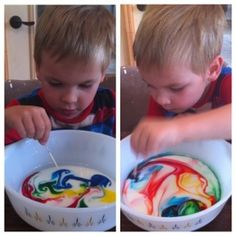 Rainy Day Toddler Activities: Simple Science for kids - The Tie-dyed Milk Experiment