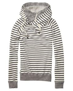 Stripes Sweater With Double Layer Hood