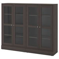 IKEA - BRIMNES, Storage combination w/glass doors, black, Cable outlets make it easy to lead cables and cords out the back so they're hidden from view but close at hand when you need them. Scandinavian Furniture, Storage, Solid Pine, Glass Cabinet Doors, Ikea Dining, Sliding Glass Door, Ikea, Adjustable Shelving, Glass Door
