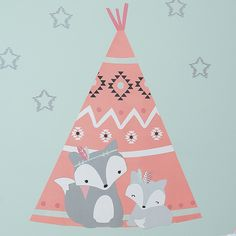 Little Spirit Coral/Gray/Blue Fox & Teepee Nursery Jumbo Wall Decals/Appliques Teepee Nursery, Fox Nursery, Star Nursery, Nursery Design, Girl Nursery, Native Fox, Wall Appliques, Bulletins, Nursery Themes