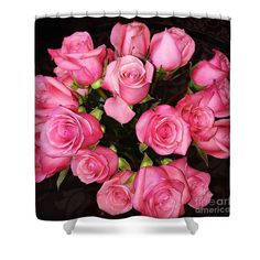 Pretty Pink Roses Shower Curtain by Carol Groenen  #rosesshowercurtain #showercurtains #uniqueshowercurtains