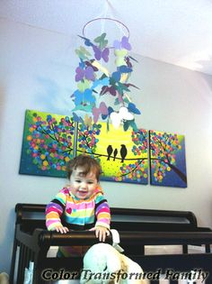 Easy to make butterfly mobile for above the crib.