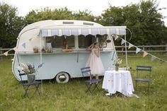 Retro caravan bar in backyard