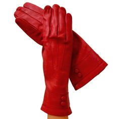 Elegant Womens Gorgeous Opulent Red Italian Leather Gloves 4-button