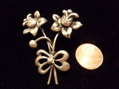 VINTAGE SWEDISH 835 SILVER SILVER FLOWER BROOCH PIN WITH TROMBONE CLASP