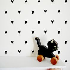 Black cat wall stickers by Tad Lapin, available from Molly-Meg, as featured on Bobby Rabbit