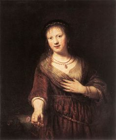 "REMBRANDT ""Portrait of Saskia with a Flower"" 1641, Oil on wood, 99 cm x 83 cm, Gemäldegalerie, Dresden"