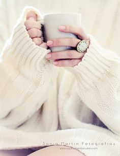 chunky cream sweater + ring.