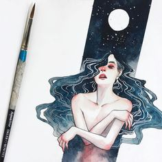 "Polubienia: 27.9 tys., komentarze: 162 – the art of hieu (@kelogsloops) na Instagramie: ""#inktober / #aquatober day 5 - little details in this little lunar lady ✨#brbchasingdreams"""