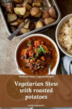 This Vegetarian 3 Bean Stew is a hearty and comforting dish made with fire roasted tomatoes and spices. Copycat recipe for Medieval times Vegetarian Chili. #cookshideout #vegetarian #stew Vegetarian Stew, Vegetarian Recipes Easy, Cooking Recipes, Lentil Recipes, Potato Recipes, Best Vegetable Recipes, Legumes Recipe, Fire Roasted Tomatoes, Bean Stew