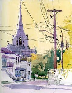 love the colors  Shari Blaukopf - Yellow Light (Urban Sketchers)