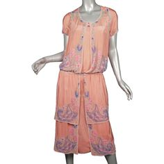 1920s Beaded Silk Flapper Dress salmon colored silk with beading in vibrant hues of lavender, rose, pink, green, royal purple, aqua blue and pearly white