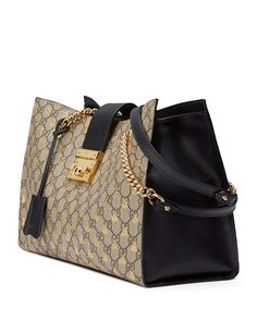 Gucci Padlock GG Supreme Canvas Bees Medium Shoulder Tote Bag