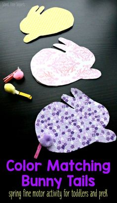 Color Matching Bunny Tails -- an adorable spring and/or Easter activity that works on fine motor skills and color matching for toddlers and preschoolers! activities for toddlers sensory Color Matching Bunny Tails: Spring Activity for Toddlers Easter Activities For Toddlers, Preschool Color Activities, Spring Activities, Group Activities, Preschool Art, Easter Art, Easter Ideas, Spring Animals, Toddler Art Projects