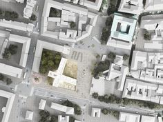 this building's cross-form footprint expresses the public space of a former roman town, lifting over the antiquated remnants to reveal the excavated site. Architecture Graphics, Space Architecture, Architecture Portfolio, Architecture Visualization, The Plan, How To Plan, Landscape And Urbanism, Landscape Plans, Site Plan Design