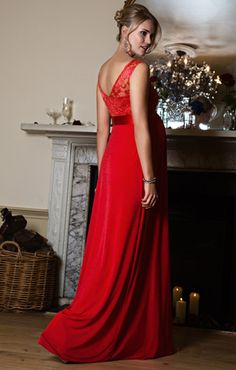 Valencia Gown Long in Sunset Red by Tiffany Rose