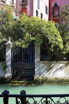 Garden Gate & Courtyard along the Canals, Venice, ...
