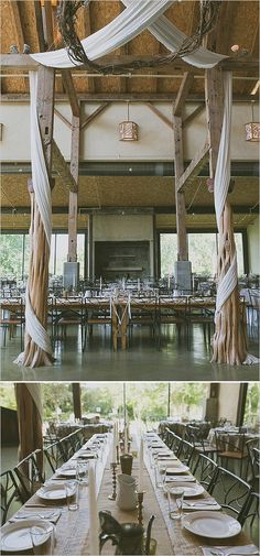 fabric drapped reception decor and family style seating