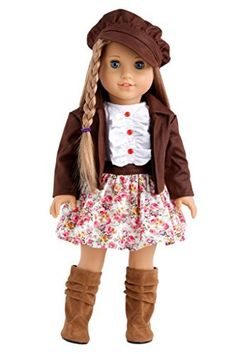 Urban Explorer - Brown Motorcycle Jacket with Paperboy Hat, Dress and Boots - 18 Inch American Girl Doll Clothes, http://www.amazon.com/dp/B00JQVZLU8/ref=cm_sw_r_pi_awdm_njqIvb1QSAESD