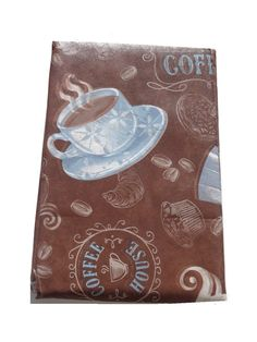 This Tablecloth Is Perfect For A Coffee Themed Kitchen. It Is Done In Brown  With Coffee Cups In Blue Also Featured Are Different Types Of Coffee, C