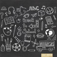 Back To School Doodle Clipart Set Instant by LightbreezeBoutique School Chalkboard Art, Chalkboard Doodles, Happy Birthday Hand Lettering, Abc Font, Back To School Clipart, Doodle Characters, Easy Doodle Art, Doodle Icon, Phone Wallpaper Quotes