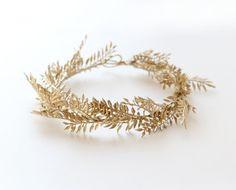 Gold bridal headpiece Golden fern tiara Gold leaf by whichgoose
