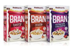 Hubbards Bran Cereal (Redesigned) on Packaging of the World - Creative Package Design Gallery New Cereal, Bran Cereal, Crunch Cereal, Granola Cereal, Food Packaging Design, Packaging Design Inspiration, Cereal Packaging, Cereal Killer, Food Design