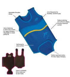 """The wetsuit features clever design techniques that ensure a snug, """"huggable"""" fit, for maximum safety, comfort and performance – it also opens flat to allow quick nappy changes."""