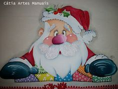 Catia Artes Manuais: PASSO A PASSO PINTURA DE PAPAI NOEL Christmas Wood, Christmas Pictures, Christmas Projects, Christmas Holidays, Christmas Decorations, Christmas Ornaments, Xmas Crafts, Wood Crafts, Paper Crafts