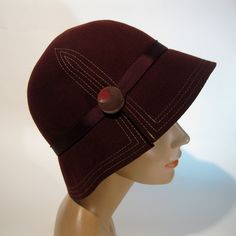 RESERVED Vintage 1930s Cloche Hat Oxblood Wool Art Deco Fall Fashions Large. $95.00, via Etsy.
