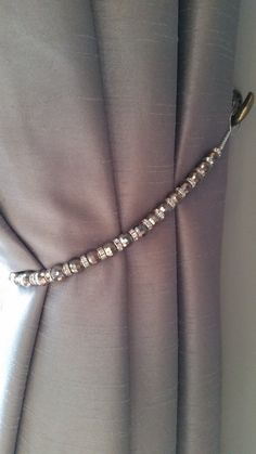 Beaded drapery tie-back with slate grey & crystal by ARosemaryHome