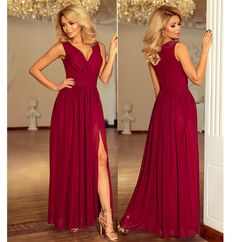 Voal bordo, captuseala, si crapatura picior Backless, Formal Dresses, Red, Fashion, Dresses For Formal, Moda, Formal Gowns, Fashion Styles, Formal Dress