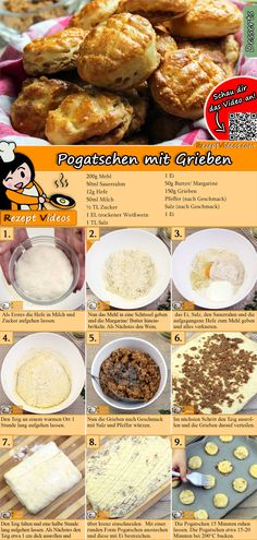 Pogatschen with greaves Recipe with video - bread recipe / baking recipes - This bun recipe is for everyone who loves it hearty! The pogatschen with greaves recipe video is ea - Hungarian Cuisine, Hungarian Recipes, Italian Cookie Recipes, Baking Recipes, Italian Pastries, Savory Pastry, Bun Recipe, Winter Food, Seafood Recipes