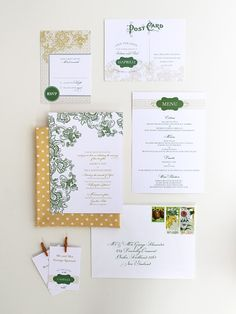 Magnolia Rouge: Green & Yellow Bruges Invitation by Ruby and Willow #weddinginvitations #weddingstationery #invitations