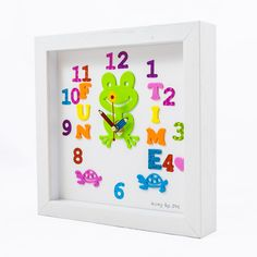 Handmade Unique Clocks direct from Cork, Ireland. Bespoke fun clocks handmade to order, great for gifts and occasions. Handmade Clocks, Unique Clocks, Personalized Clocks, Clock For Kids, Childrens Gifts, Frame, Fun, Crafts, Picture Frame