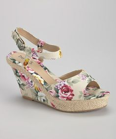 3100ba3f058 Another great find on  zulily! Beige Floral Suzanne Wedge Sandal   zulilyfinds Wedge Shoes